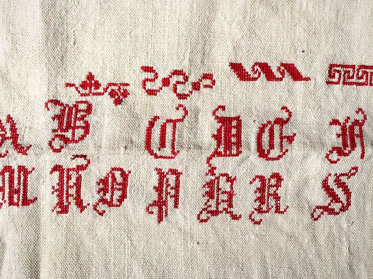 Letters Embroidery Textile Fabric Text Red No People Alphabet Vintage Old Victorian Edwardian Ancient Canvas Gothic Gothic Style