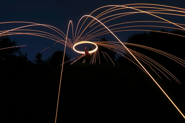 Wield the fire, long exposure Circle Light Painting Long Exposure Shot Abstract Arts Culture And Entertainment Burning Fire Firework Firework - Man Made Object Firework Display Glowing Illuminated Light Trail Long Exposure Motion Nature Night One Person Outdoors Real People Sparks Speed Spinning Unrecognizable Person Wire Wool