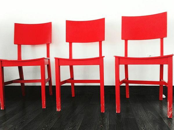 Red Chairs Three Black & White Bwr