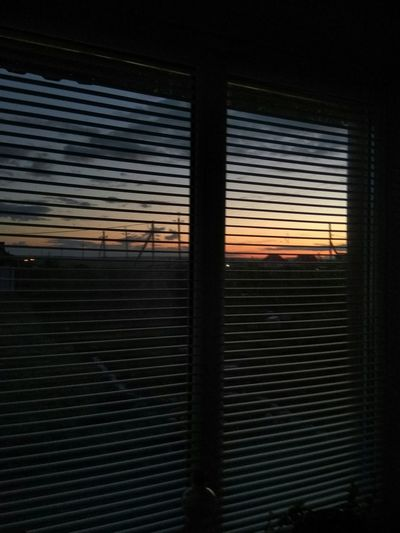View of window at sunset