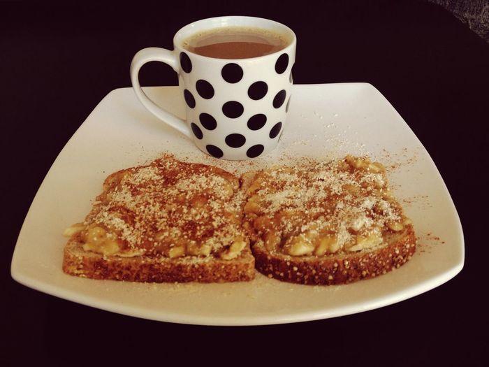 Breakfast! ❤️ Bread Banana Cinnamon Milk and Coffee Breakfast Ididit