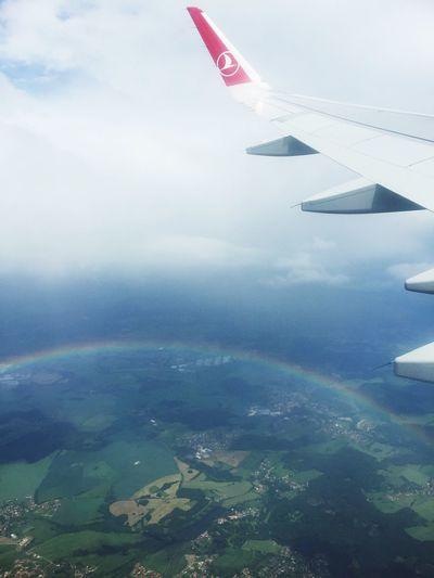 Above the rainbow Rainbow Airplane Sky