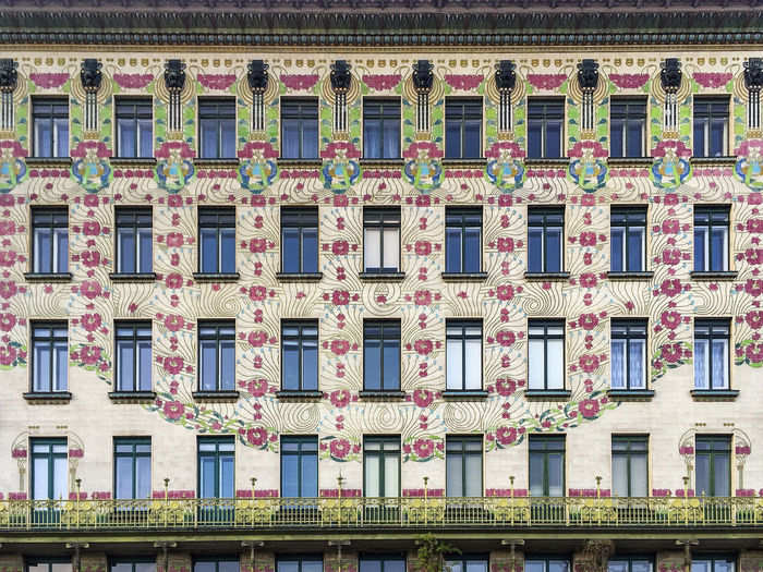 Façade Secessionist Architecture, Vienna Secessionist-style Vienna Apartment Architecture Art Nouveau Balcony Building Building Exterior Built Structure City Design Full Frame Low Angle View Majolikahouse Multi Colored No People Ottowagner Outdoors Residential District Wien