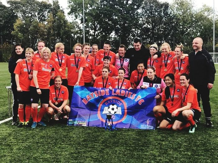 Not my own photo! Credit to a The Best Team Mates Family Fottball Girls Champions League Winners Myteam Girlswhoplayfootball Showracismtheredcard football team mate!