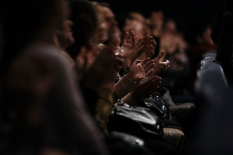 Acknowledgement Aisle Applauding Applause Auditorium Cinema Emotional Hands Indoors  Movies Music Real People Rows Seating Selective Focus Spectators Theatre