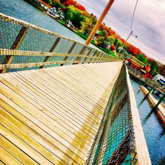 Boothbay Harbor Maine Walking Bridge Coastal Water