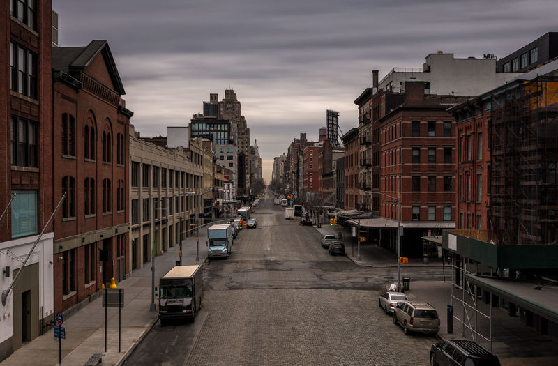 Aerial view on street in New York Architecture Built Structure Building Exterior City Transportation Building Street Cloud - Sky The Way Forward Direction Residential District Road Outdoors Apartment Mode Of Transportation New York Urban Aerial View Daytime