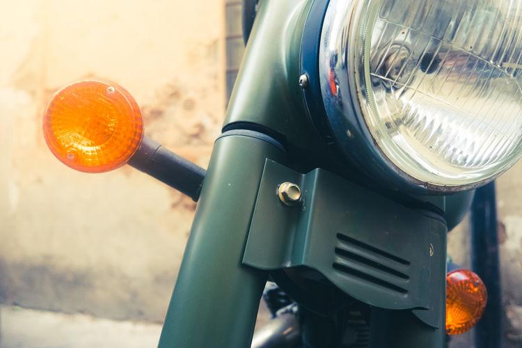 Close-up of orange machine