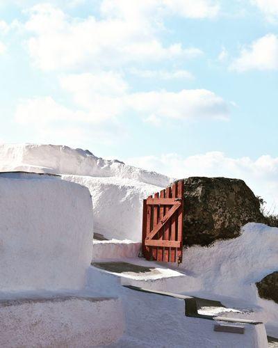Built structure against sky. santorini, greece