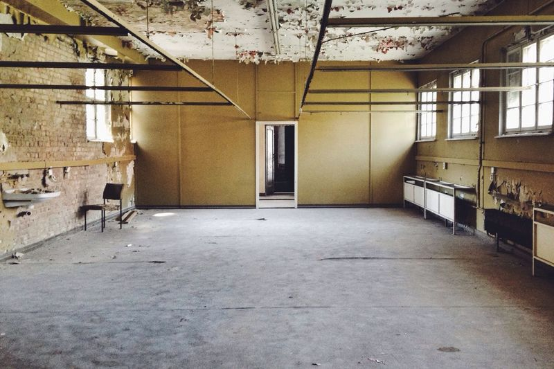 View of an abandoned room with windows