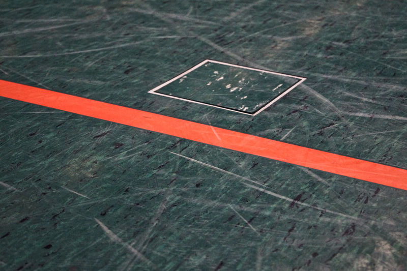 High Angle View Of Corner Marking In Court