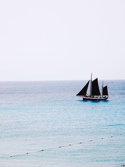 Boat Ocean Canary Islands Lanzarote Travel Trip Discovery Sea Water Nautical Vessel Scenics - Nature Copy Space Beauty In Nature Sky Nature Horizon Transportation Horizon Over Water Day Sailboat Sailing Outdoors