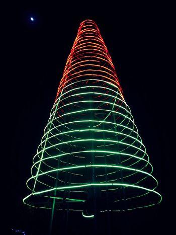 Night Celebration Christmas Illuminated Triangle Shape No People Black Background Christmas Decoration Low Angle View Indoors