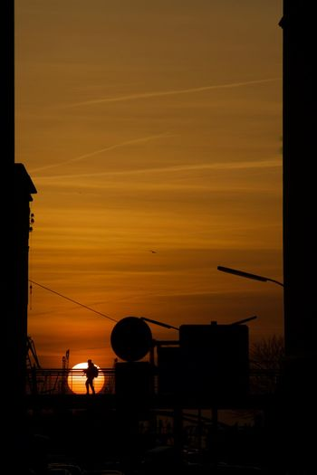 sunset and bridge Against The Light Bridge One Person Walking Otange Railing Shadow Silhouette Sky Sun Sunset