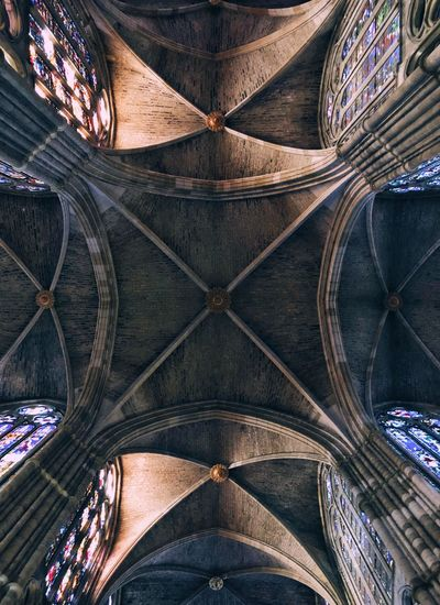 Catedral de León Pattern Cathedral Stained Glass Pattern Architecture Built Structure Building Exterior Ceiling No People Full Frame Building Symmetry Religion Travel Destinations Gothic Style Architecture And Art Design Shape