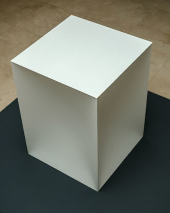 Indoors  High Angle View Close-up White Color Still Life Container Shape Geometric Shape Cube Shape Pattern Design Box Art And Craft Single Object Creativity Anish Kapoor Sculpture Art Contemporary Contemporary Art