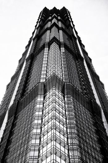 Shanghai Architecture Black and White Series, rework on structure... Jin Mao Tower Arc Bw Bnw_captures Bw_collection BW_photography Low Angle View Architecture Sky Built Structure Design Pattern Tall - High No People Shape Clear Sky Building Tower