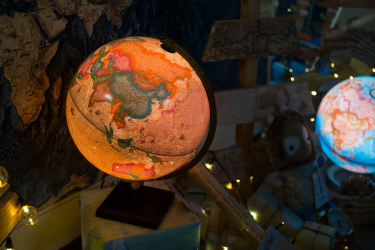 No People Night Indoors  Astronomy Close-up Globe - Man Made Object Atlas Chart