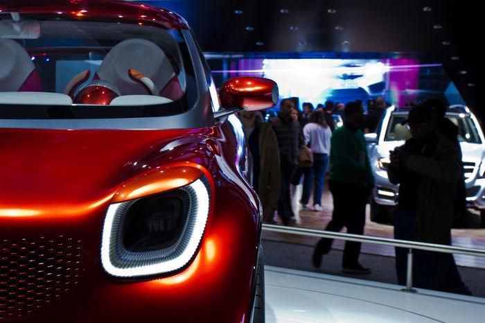 Car Close-up Concept Car Detroit Auto Show 2013 Focus On Foreground Grill Headlight Land Vehicle Smart Car Transportation