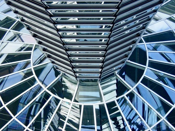 Architecture Day EyeEmNewHere Full Frame Futuristic Glass Mirror Modern No People NormanFoster Pattern Reflection Reichstagskuppel Steel The Architect - 2017 EyeEm Awards Travelman