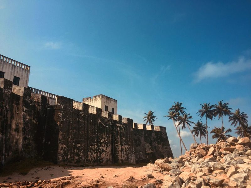Elmina castle Shore Ghana Rock Blue Sky Fort Palm Tree Castle Architecture Sky Palm Tree Day Built Structure Outdoors Building Exterior Prison Nature