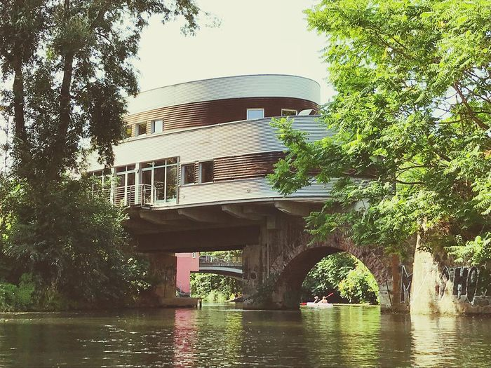 Water View Canoeing Special Places Spaceship Like Lindenauer Hafen Leipzig Built Structure Architecture Tree Water Plant Building Exterior Nature Low Angle View No People Bridge - Man Made Structure River Day Bridge Connection Waterfront Outdoors Building