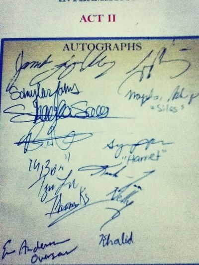 """Autographs of amazing actors from the play I just watched """"A Change Gon' Come"""""""