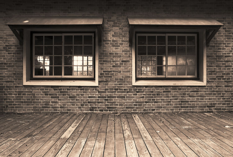 Window Architecture Built Structure Building Exterior No People Building Empty Day Outdoors Wood - Material Glass - Material Brick Wall Brick City Absence Wall Reflection House Footpath Flooring