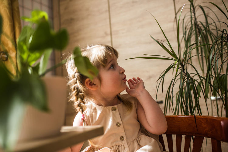 Portrait of girl looking away