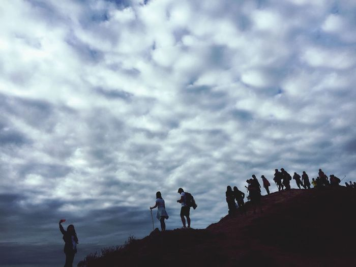 People are people Sky Real People Nature Togetherness Lifestyles Silhouette Leisure Activity Cloud - Sky Men Walking Day Beauty In Nature Outdoors Women Low Angle View People Scenics Friendship Adventure