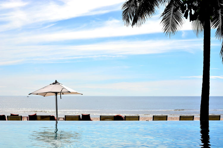 Beach Beach Front Beauty In Nature Cloud - Sky Colors Day Horizon Over Water Idyllic Nature No People Outdoors Palm Tree Scenics Sea Shadow Sky Sky And Clouds Sky Collection Swimming Pool Tranquil Scene Tranquility Umbrella Vacations Water