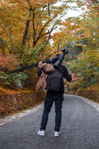 Photographer in Japanese garden in Kyoto during autumn Autumn Full Length One Person Rear View Tree Adult Walking Adults Only Leisure Activity One Man Only Forest People Outdoors Leaf Day Nature Sport Men Beauty In Nature Only Men