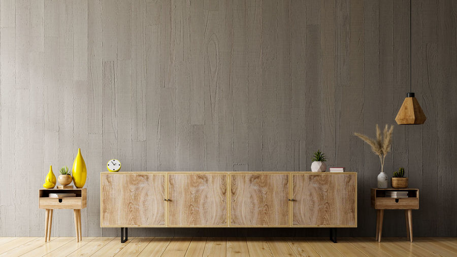 Wooden planks on table against wall at home