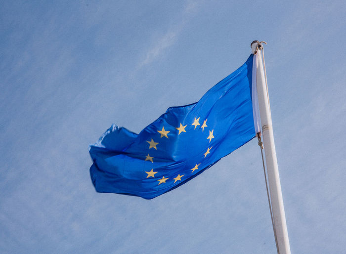 Europe Trip European  European Union Blue Day Euro Europe Flag Fluttering Low Angle View No People Outdoors Patriotism Sky Wind