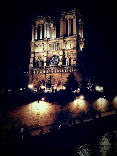 Notre dame Notre Dame De Paris Paris Night Architecture Illuminated Outdoors Water Travel Destinations City