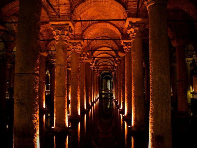 Basilica Cistern Architecture Built Structure Architectural Column History In A Row Illuminated No People Indoors  Konstantinopolis Konstantinopel Istanbul Istanbul Turkey This Week On Eyeem EyeEmNewHere Chasing The Darkness Shadow First Eyem Photo Tranquil Scene Basilica Cistern Connected By Travel
