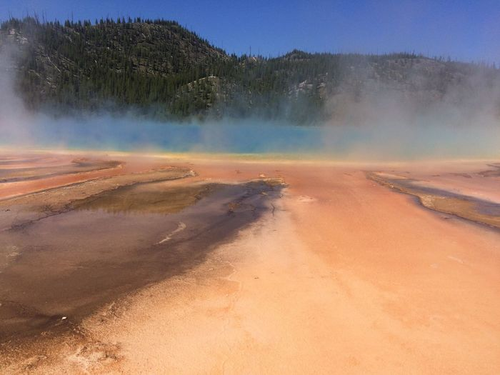 Tranquility Nature Tranquil Scene Beauty In Nature Scenics Tree Non-urban Scene Geology No People Hot Spring Geyser Landscape Outdoors Water Day Sky Geological Formation Grand Prismatic Spring Blue And Orange UNESCO World Heritage Site Fresh On Eyeem