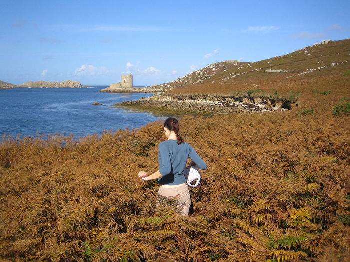 Artillery Fort Bracken Cromwells Castle Heritage Building Isles Of Scilly Nature One Person Outdoors Real People Rear View Scenics Sea Tresco Tresco Channel