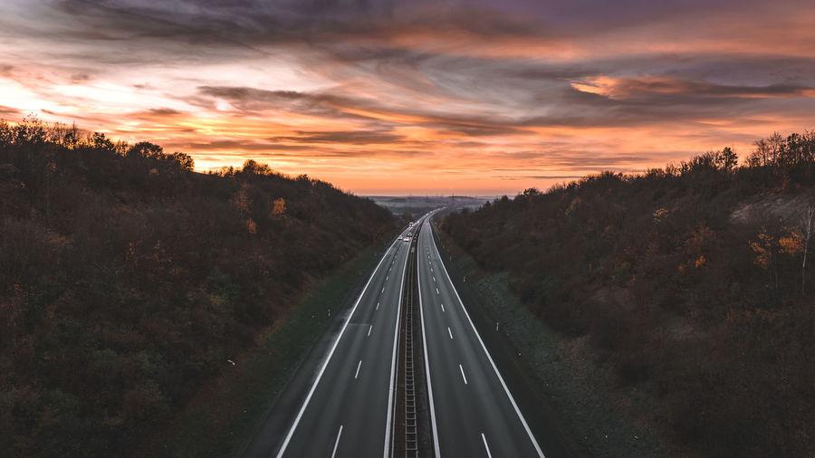 Sunset over autobahn