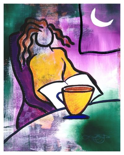 Late Night with Java Lady Abstract Drawing Close-up Watercolor Painting Sketch Multi Colored Painted Image People