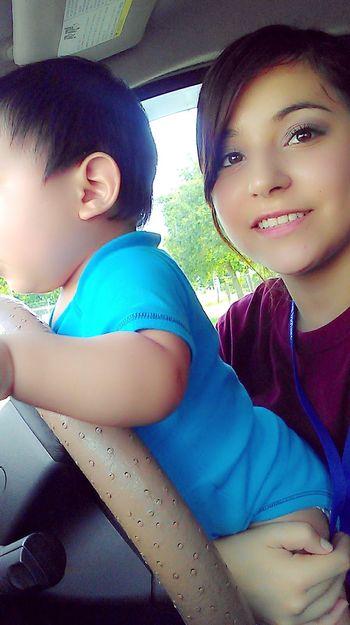 My Gordo driving me to school(:
