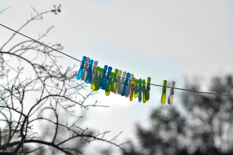 EyeEm Selects Low Angle View Day Outdoors Clothesline Sky Pegs