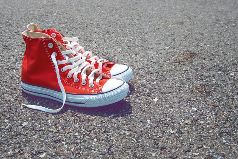 Red shoes on street
