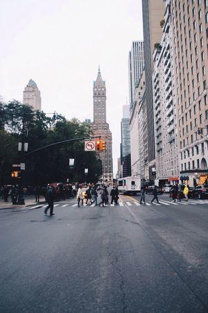 New York City, New York. New York City New York Intersection Walking People People Crossing The Street Travel