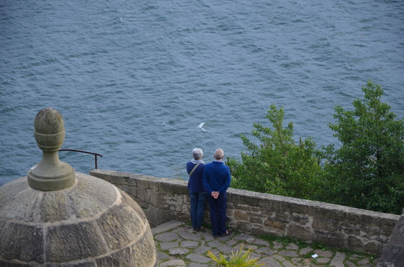 Rear view of senior couple standing by sea