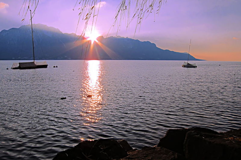 Beautiful sunset over Lake Geneva with sun rays peeking from the mountain during winter time, in Montreux, Switzerland Montreux Nature Orange Plant Red Serenity Sun Star Alpes Dusk Evening Lake Lake Geneva Landscape Majestic Mountain Outdoors Purple Sky Sun Sun Rays Sunbeam Sunset Yellow