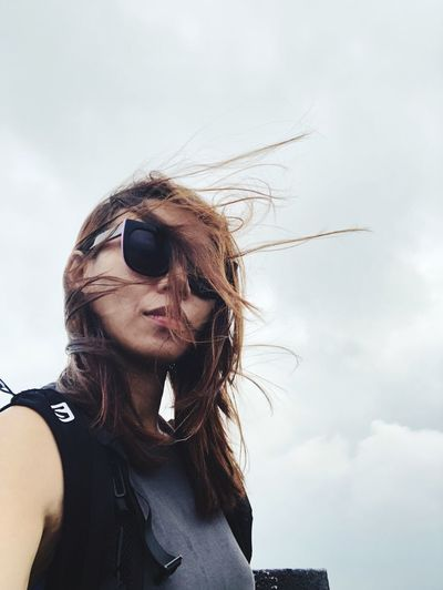 Flying High Mountain Mountain Girl Hiker Girl In Nature Out Girl Portrait Wind And Sky Comfort Me Moody Nature Selfıe Girl EyeEm Selects Sky Sunglasses One Person Lifestyles Young Women Portrait Nature Leisure Activity