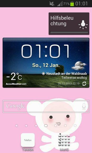 Screenshot Rosa Uhr Handy
