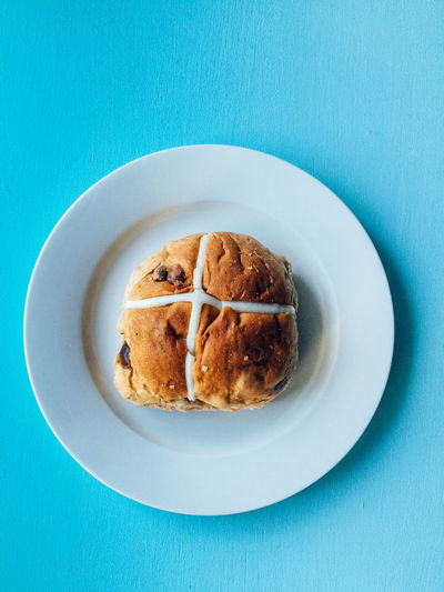 Hot Cross or Easter Buns Blue Blue Background Breakfast Day Easter Easter Buns Easter Food Enjoying Life Food Food And Drink Freshness Hot Cross Buns Indoors  No People Plate Ready-to-eat Serving Size Sweet Food