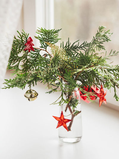 Close-up of christmas tree on table